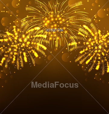 Illustration Festive Firework Bursting, Holiday Background - Vector Stock Photo