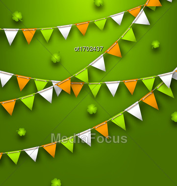 Illustration Festive Flags With Clovers For Happy Saint Patricks Day - Vector Stock Photo