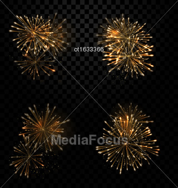 Illustration Festive Set Fireworks Salute On Transparent Background - Vector Stock Photo