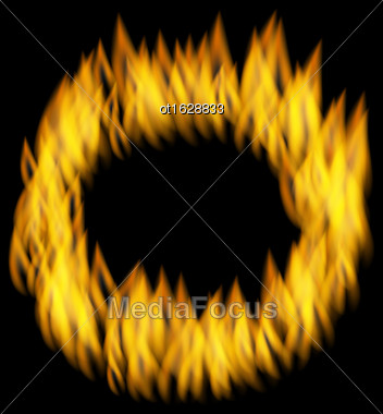 Illustration Fire Flame In Circular Frame Isolated On Black Background - Vector Stock Photo