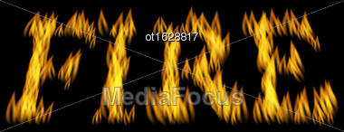 Illustration Fire Flame Font Isolated On Black Background - Vector Stock Photo