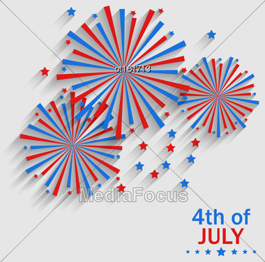 Illustration Firework Colorized In Flag US For Celebration Independence Day, Flat Style Long Shadow - Vector Stock Photo