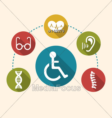 Illustration Flat Colorful Icons Disabled With Limited Opportunities And Birth Defects. Long Shadow Style - Vector Stock Photo
