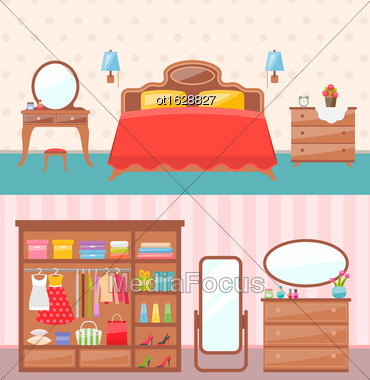 Illustration Flat Design Bedroom Interior With Dresser, Wardrobe, Mirror. Modern Furniture. Colorful Minimal Style - Vector Stock Photo