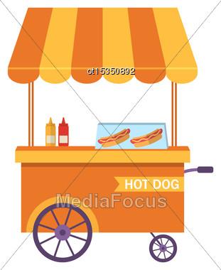 Illustration Flat Icon Cart Of Hot Dog Isolated On White Background - Vector Stock Photo