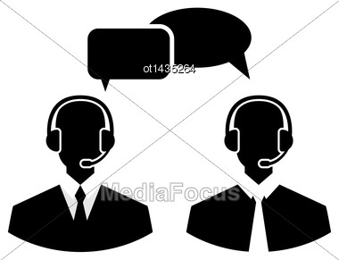 Illustration Flat Icons Of Call Center Silhouette Mans Operators Wearing Headsets, People Isolated On White Background - Vector Stock Photo