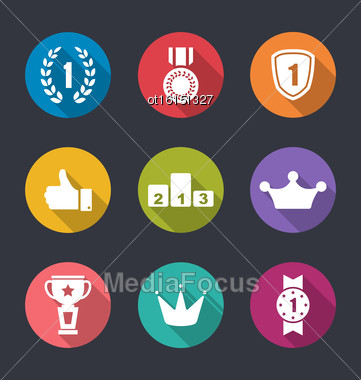 Illustration Flat Icons Collection Of Awards And Trophy Signs, Long Shadow Design - Vector Stock Photo