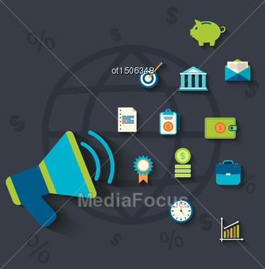Illustration Flat Icons Concepts On Business And Finance Theme - Vector Stock Photo