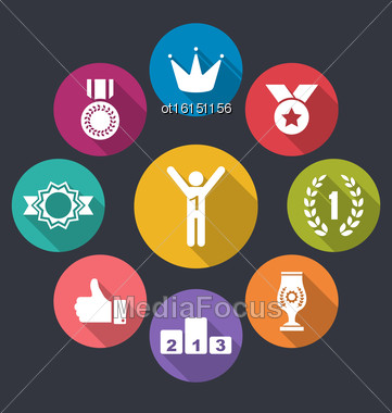 Illustration Flat Icons Group Of Awards And Trophy Signs, Long Shadow Design - Vector Stock Photo