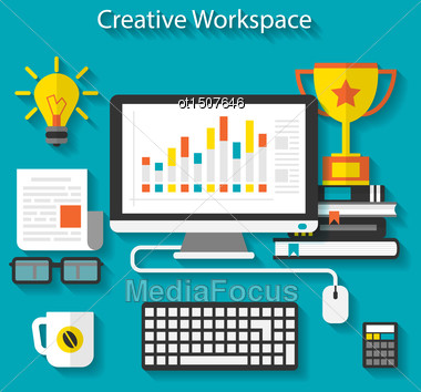Illustration Flat Icons Of Trendy Business Objects With Long Shadows - Vector Stock Photo