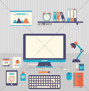 Illustration Flat Icons Of Trendy Everyday Objects, Office Supplies And Business Items For Daily Usage - Vector Stock Photo