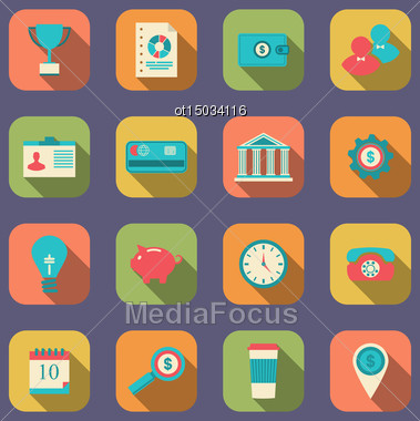 Illustration Flat Icons Of Web Design Objects, Business, Office And Marketing Items, Modern Style With Long Shadow - Vector Stock Photo