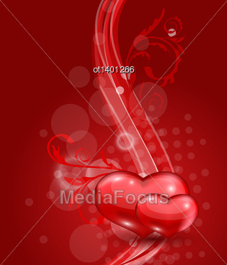 Illustration Floral Background With Beautiful Hearts For Valentine Day - Vector Stock Photo