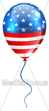 Illustration Flying Balloon In American Flag Colors For Design For Natioan Holidays - Vector Stock Photo