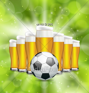 Illustration Football Poster With Glasses Of Beer And Soccer Ball. Glowing Sport Background - Vector Stock Photo