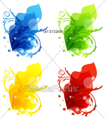 Illustration Four Seasonal Floral Colorful Frames Isolated - Vector Stock Photo