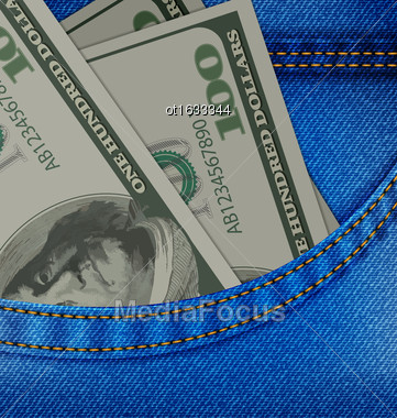 Illustration In The Front Pocket Of Denim Trousers Have Dollars. One Hundred Banknotes - Vector Stock Photo