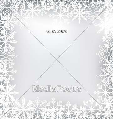 Illustration Frozen Frame Made Of Snowflakes For Merry Christmas - Vector Stock Photo