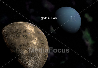 Illustration of the gas giant planet Neptune and its largest moon Triton.Neptune's satellite Triton is in the foreground while Neptune itself looms on the upper right. At a distance of 220 thousand mi Stock Photo