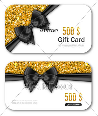 Illustration Gift Card Template With Golden Dust Texture And Black Bow Ribbon. Gift Voucher, Coupon, Invitation, Certificate, Diploma, Ticket Etc. - Vector Stock Photo