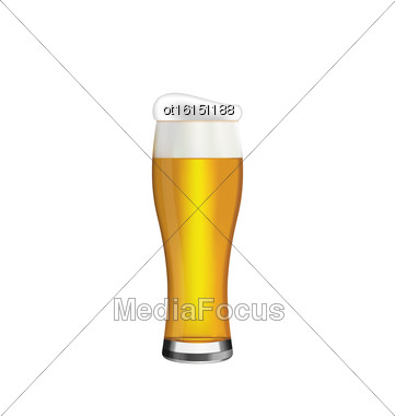 Illustration Glass Of Beer Isolated On White Background - Vector Stock Photo