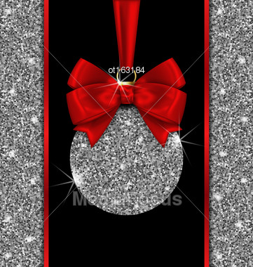 Illustration Glitter Card With Christmas Ball And Red Bow Ribbon With Silver Surface And Twinkle, Dark Glowing Background - Vector Stock Photo