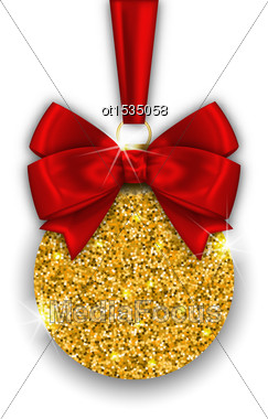 Illustration Glitter Christmas Ball With Golden Surface And Twinkle, On White Background - Vector Stock Photo