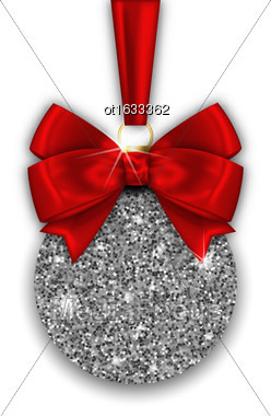Illustration Glitter Christmas Ball And Red Bow Ribbon With Silver Surface On White Background - Vector Stock Photo