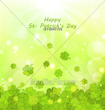 Illustration Glowing Background With Clovers For St. Patrick's Day - Vector Stock Photo