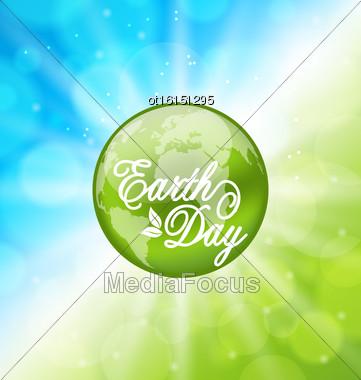 Illustration Glowing Bright Background For Earth Day Holiday With Planet - Vector Stock Photo