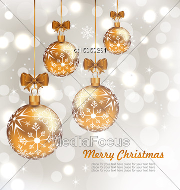 Illustration Glowing Celebration Card With Set Christmas Balls - Vector Stock Photo