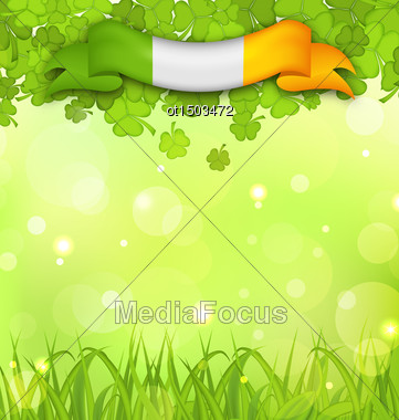 Illustration Glowing Nature Background With Shamrocks, Grass And Irish Flag For St. Patrick's Day - Vector Stock Photo