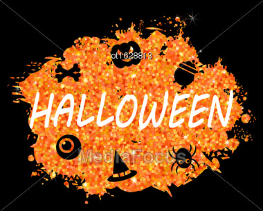 Illustration Glowing Orange Template For Happy Halloween Party. Holiday Bright Flyer- Vector Stock Photo