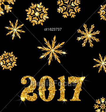 Illustration Golden Celebration Card For Happy New Year 2017 With Sparkle Snowflakes, Glittering Luxury Background - Vector Stock Photo