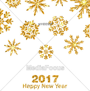 Illustration Golden Celebration Card With Sparkle Snowflakes, Glittering Luxury Background - Vector Stock Photo