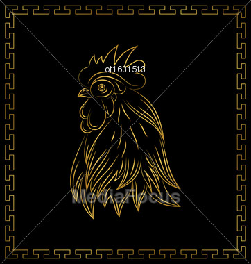 Illustration Golden Cock, Chinese Calendar Symbol Of 2017 Year. Happy New Year Poster - Vector Stock Photo