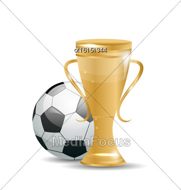 Illustration Golden Cup With Football Ball. Objects Isolated On White Background - Vector Stock Photo