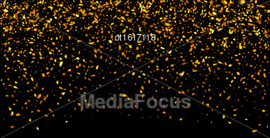 Illustration Golden Explosion Of Confetti. Golden Grainy Texture On Black Background - Vector Stock Photo