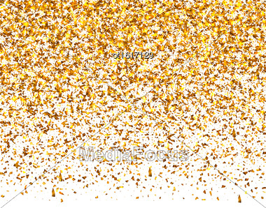 Illustration Golden Explosion Of Confetti. Golden Grainy Texture On White Background - Vector Stock Photo
