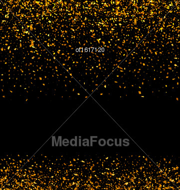 Illustration Golden Glitter Texture On Black Background. Holiday Glossy Background - Vector Stock Photo