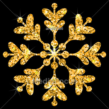 Illustration Golden Merry Christmas Sparkle Snowflakes, Dark Luxury Background - Vector Stock Photo