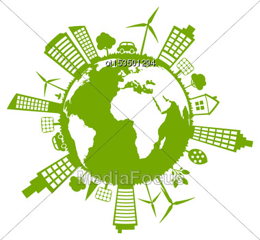 Illustration Green Futuristic World, Concept. Environment With Solar Panels And Wind Generators - Vector Stock Photo