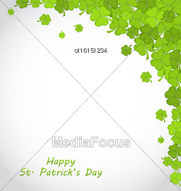 Illustration Greeting Background With Clovers For St. Patricks Day - Vector Stock Photo