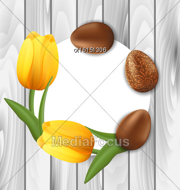 Illustration Greeting Card With Easter Chocolate Ornamental Eggs And Yellow Tulips Flowers On Wooden Background - Vector Stock Photo