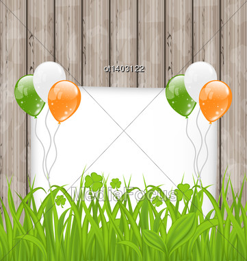 Illustration Greeting Card With Grass And Balloons In Irish Flag Color For St. Patrick's Day - Vector Stock Photo