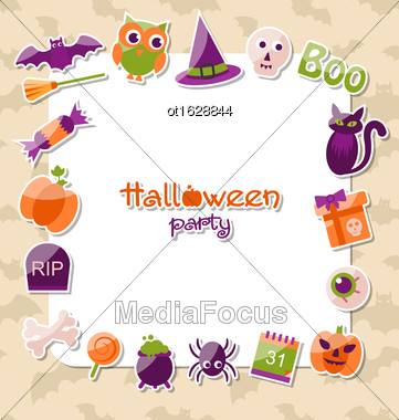 Illustration Greeting Card For Halloween Party With Colorful Flat Icons - Vector Stock Photo