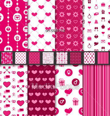 Illustration Group Of Love And Romantic Seamless Backgrounds. Valentine Day Patterns With Pink And White Colors - Vector Stock Photo