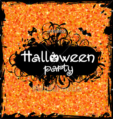 Illustration Grunge Dirty Frame For Halloween Party. Glitter Orange Background - Vector Stock Photo