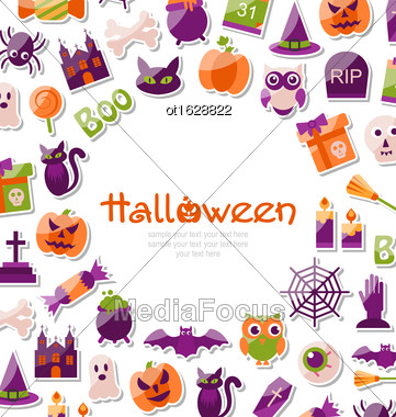 Illustration Halloween Card. Set Of Bright Signs, Icons And Objects. Trick Or Treat - Vector Stock Photo