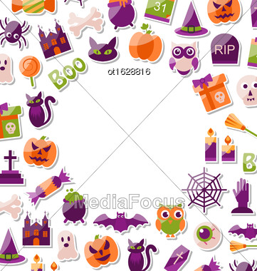 Illustration Halloween Clean Card With Place For Your Text. Set Of Bright Signs, Icons And Objects. Trick Or Treat - Vector Stock Photo